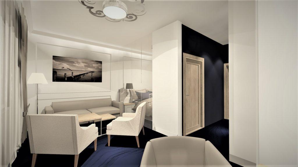 Projekt aranżacji wnętrz pokoju hotelowygo - Architekt Wnętrz WKWADRAT - projektowanie hoteli