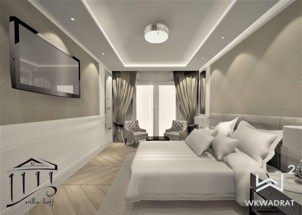 Aranżacja wnętrz pokoju hotelowego - Architekt Wnętrz Wkwadrat - projektowanie wnętrz hoteli