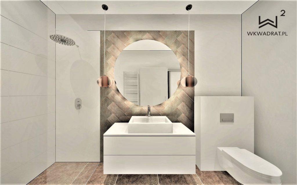 Projektowanie wnętrz hoteli - Aranżacja wnętrza łazienki w pokoju hotelu - Architekt Wnętrz WKWADRAT - projektowanie wnętrz hoteli