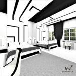Projekt wnętrza sypialni z autorskim oświetleniem - Architekt Wnętrz WKWADRAT - projektowanie hoteli