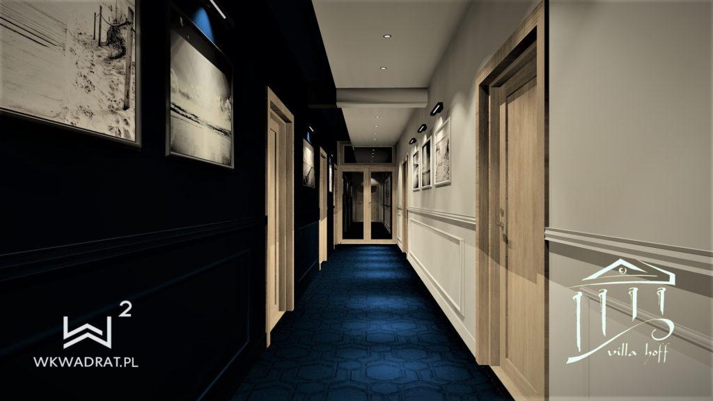 Projekt wnętrz korytarza w hotelu - Architekt Wnętrz Wkwadrat - projektowanie hoteli