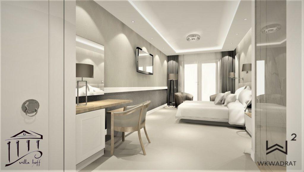 Projekt wnęrza pokoju hotelowym - Architekt Wnętrz WKWADRAT - Projektowanie Hoteli