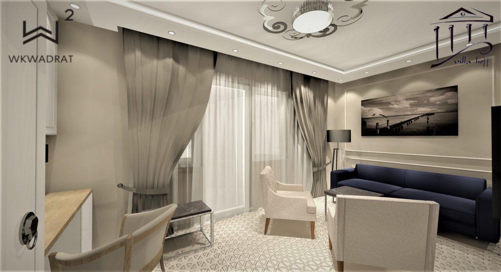 Projektowanie pokoi i apartamentów w hotelu - Architekt Wnętrz Wkwadrat - projektowanie hoteli