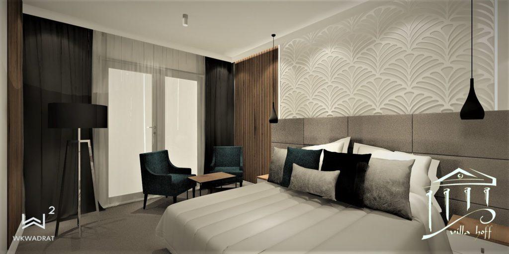 Architekt wnętrz WKWADRAT - projektowanie wnętrz hoteli - aranżacja wnętrza pokoju hotelowego
